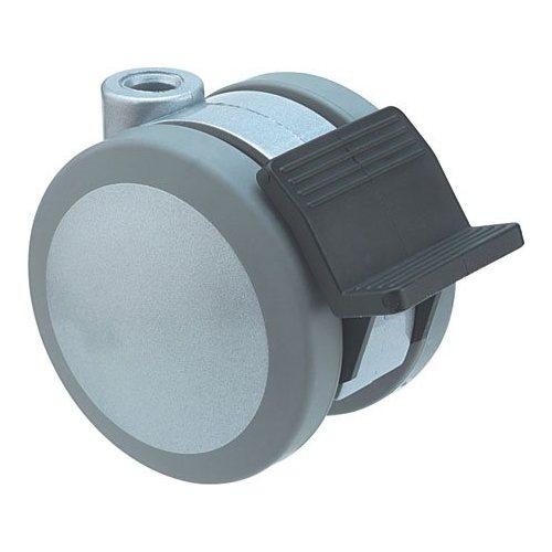 Twin Wheel Swivel Castor with 10mm Diameter Pin Hole - 80kg Load Capactiy, 75mm Diameter Wheels