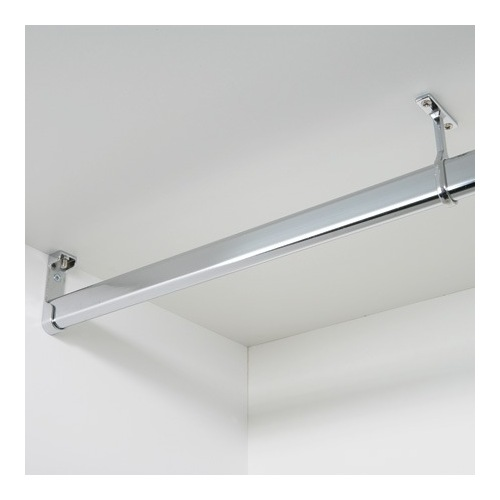 Image of 1.8m Straight Wardrobe Rail with Fittings, 30 x 15 mm